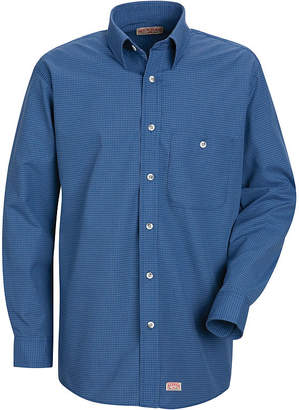 Red Kap Long Sleeve Mini Plaid Button Up Shirt