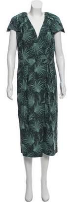 Dries Van Noten Leaf Print Midi Dress