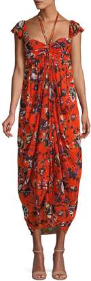 Diane von Furstenberg Floral Draped Maxi Dress