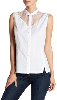 Elie Tahari Josephine Beaded Sleeveless Blouse