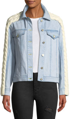 Tanya Taylor Percy Denim Jacket with Cable-Knit Trim