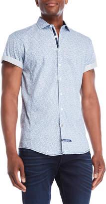 English Laundry Blue & White Paisley Print Sport Shirt