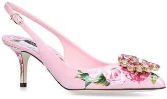 Dolce & Gabbana Embellished Maiolica Broccato Slingback Pumps 60