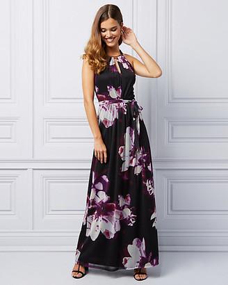 Le Château Floral Print Knit Halter Gown