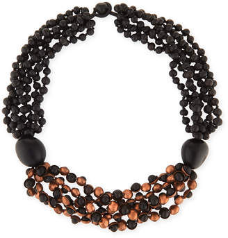 eskandar Short Multi-Strand Beaded Acai & Copper Necklace
