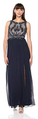 Adrianna Papell Women's Beaded Sleeveless Long Dress with Full Skirt