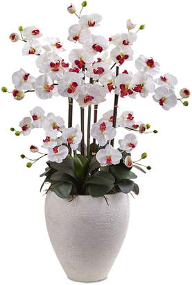 Nearly Natural White Phalaenopsis Orchid Artificial Arrangement with White Planter