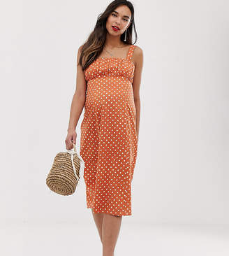 Asos DESIGN Maternity ruched bust midi sundress in rust spot