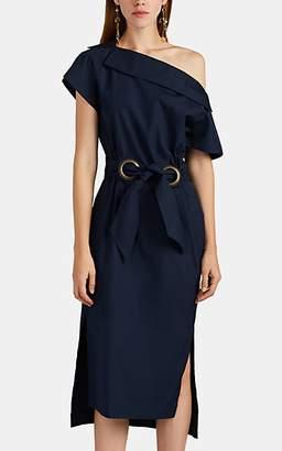 Martin Grant Women's Tie-Waist Cotton Poplin Midi-Dress - Navy