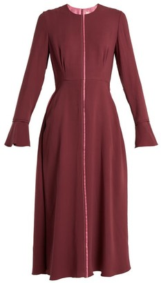 Roksanda - Eveline Fluted Cuff Georgette Dress - Womens - Burgundy Multi