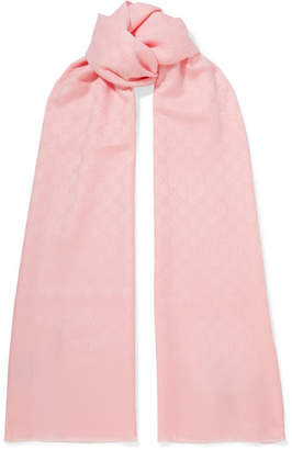 Gucci Cashmere-jacquard Scarf - Pastel pink