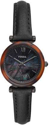 Fossil Women Mini Carlie Black Leather Strap Watch 28mm