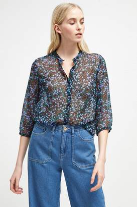 French Connenction Aubine Crinkle Floral Collarless Shirt