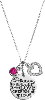 Charmed By Diamonds CHARMED BY DIAMONDS 1/10 Carat T.W. Diamond & Lab-Created Ruby Love Charm Pendant