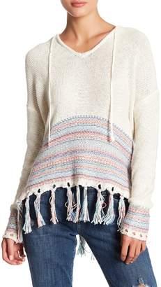 Love Stitch Long Sleeve Half Stripe Fringe Pullover