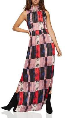 BCBGeneration Check Floral Maxi Dress
