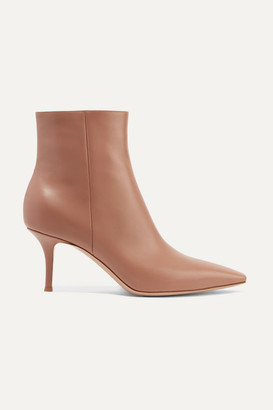 Gianvito Rossi 70 Leather Ankle Boots - Taupe