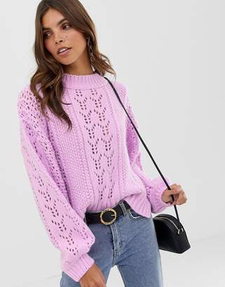Asos Design DESIGN open stitch jumper in fluffy yarn