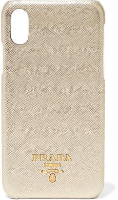 Prada Metallic Textured-leather Iphone X Case - Gold