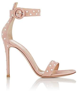 Gianvito Rossi Women's Embellished Suede Ankle-Strap Sandals - Pink