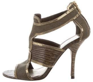 Tory Burch Metallic-Trimmed Canvas Sandals