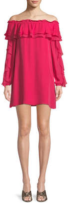 Parker Isa Silk Off-the-Shoulder Ruffle Mini Dress