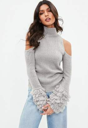 Missguided Gray Cold Shoulder Shaggy Sleeve Sweater