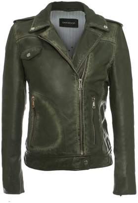 Oakwood Glass Green Leather Biker Jacket