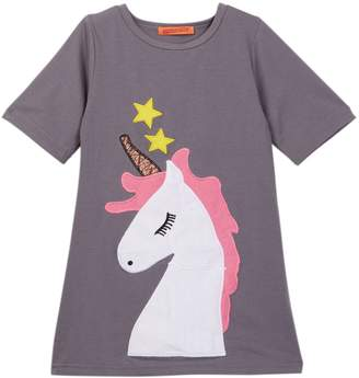 Funkyberry Short Sleeve Unicorn Dress (Toddler & Little Girls)