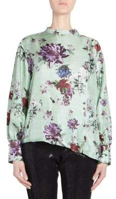 Each X Other (イーチ アザー) - Each X Other Silk Floral Printed Asymmetric Blouse