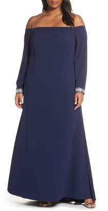 Vince Camuto Crystal Cuff Off the Shoulder Long Sleeve Crepe Dress