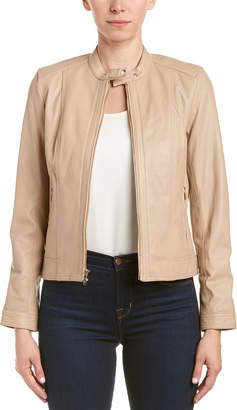 Cole Haan Ribbed Leather Jacket