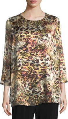 Caroline Rose Leopard Devore Layered Tunic