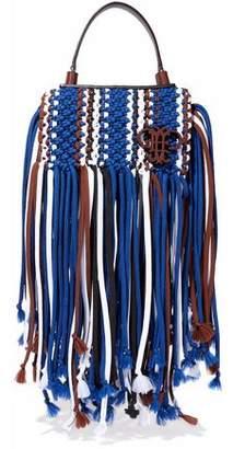 Emilio Pucci Leather-trimmed Fringed Macrame Shoulder Bag