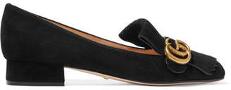 Gucci Marmont Fringed Logo-embellished Suede Loafers