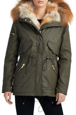 SAM. 4-Way Fox Fur Trim Mini Luxe Limelight Anorak Jacket