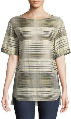 Lafayette 148 New York Samara Linear Mirage Half-Sleeve Blouse