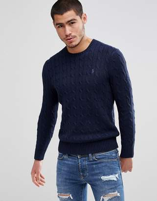 at ASOS · Polo Ralph Lauren Polo Ralph Cotton Cable Knit Jumper Player  Embroidery In Navy Marl