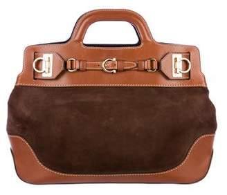 Salvatore Ferragamo Suede Leather-Trimmed Gancio Satchel
