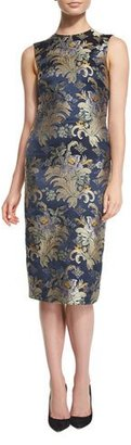 Ralph Lauren Georgia Baroque Silk Brocade Sheath Dress, Petrol/Multi $1,990 thestylecure.com