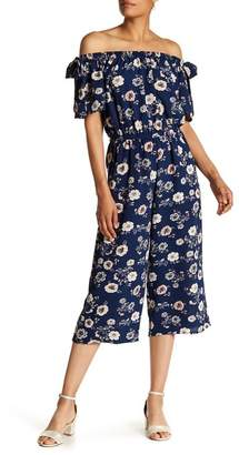 SUPERFOXX Off-the-Shoulder Floral Crop Jumpsuit