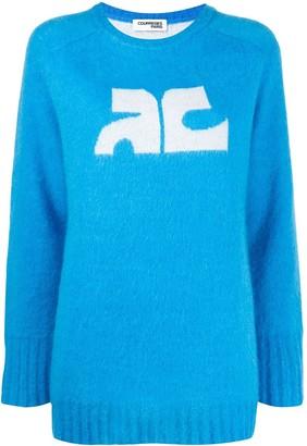 Courreges contrast logo jumper