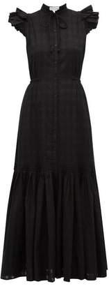 Apiece Apart Pacifica Check Jacquard Cotton Maxi Dress - Womens - Black