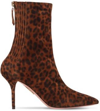 Aquazzura 85mm Saint Honoré Suede Ankle Boots