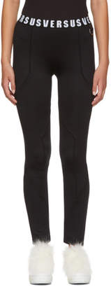 Versus Black Logo Waistband Leggings