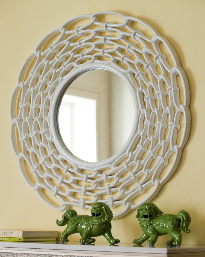 Horchow White Link Mirror