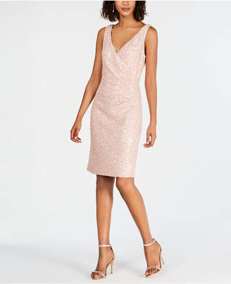 Vince Camuto Lace & Sequin Faux-Wrap Sheath Dress