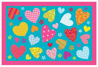 Fun Rugs Fun Time Hearts-Turquoise Kids Rug Rug