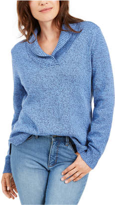 Karen Scott Cotton Marled Shawl-Collar Sweater