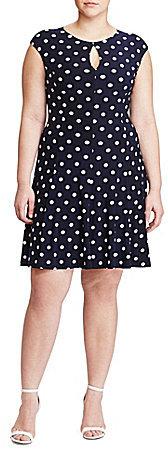 Lauren Ralph LaurenLauren Ralph Lauren Plus Cap Sleeve Polka-Dot Jersey Dress